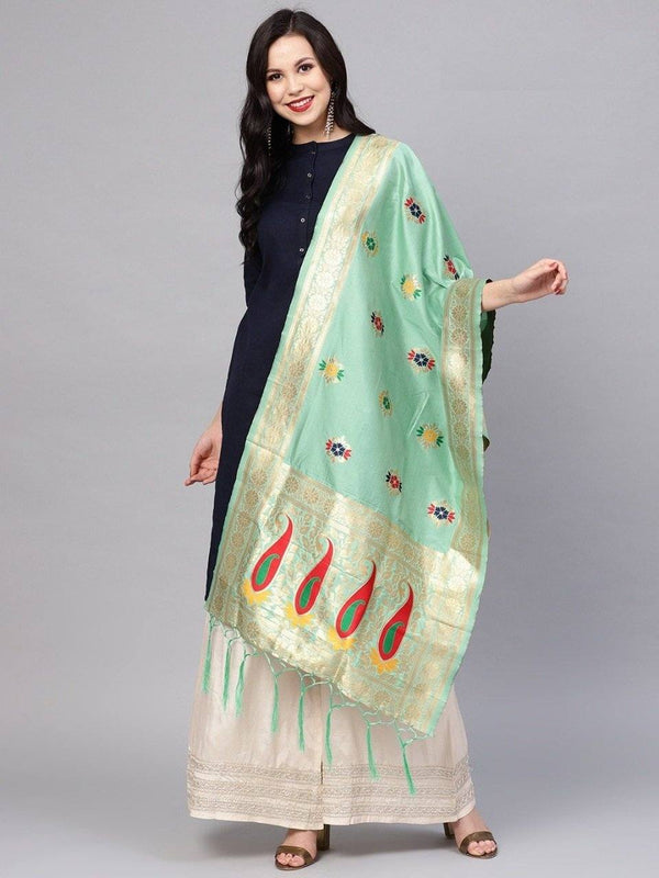 Pista Colour Designer Banarasi Silk Dupatta With Zari Work