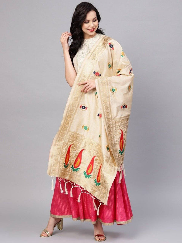 Cream Colour Designer Banarasi Silk Dupatta With Zari Work