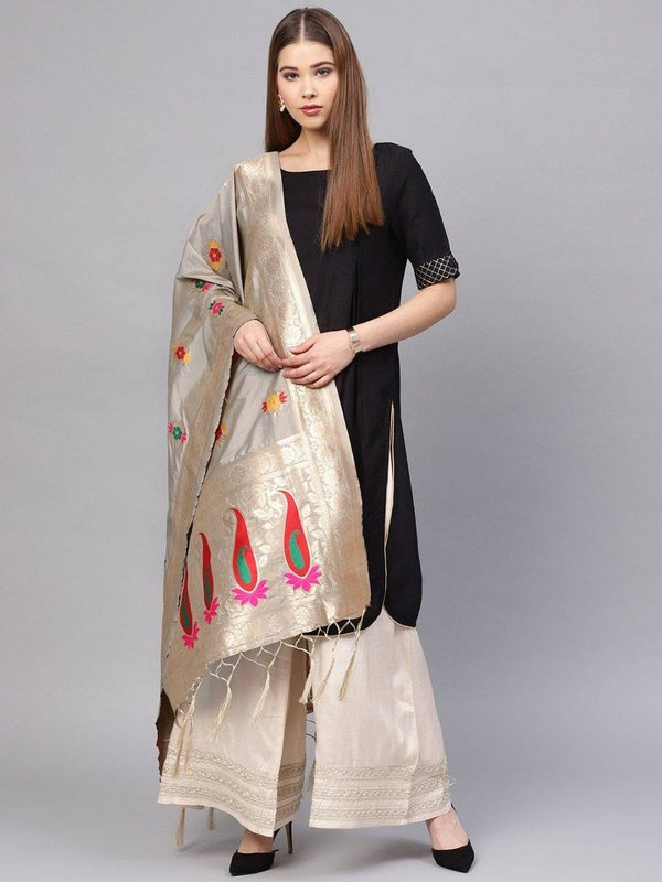 Grey Colour Designer Banarasi Silk Dupatta With Zari Work