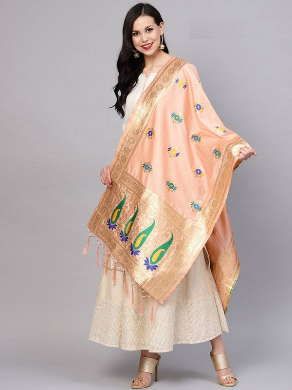 Peach Colour Designer Banarasi Silk Dupatta With Zari Work
