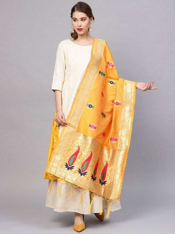 Yellow Colour Designer Banarasi Silk Dupatta With Zari Work