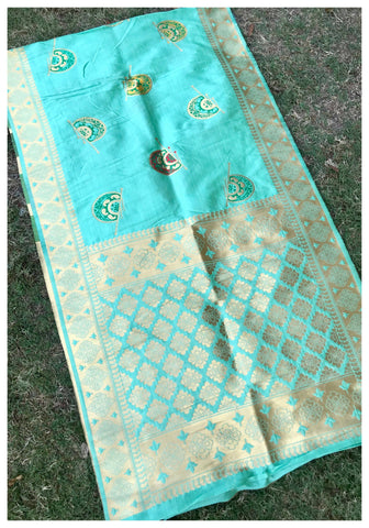 Aqua Blue Colour Designer Banarasi Silk Dupatta With Zari Work