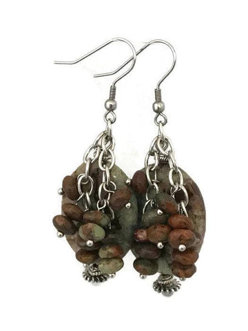 Oval Multi Brown Agate Drop Earrings-www.riafashions.com