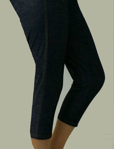 Leggings - 3/4 th - Black Denim-www.riafashions.com