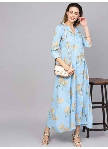 Delightful Light blue Colored Cotton Gown Kurti