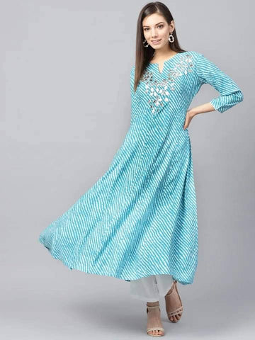 Refreshing Sky Blue Colored Cotton Kurti