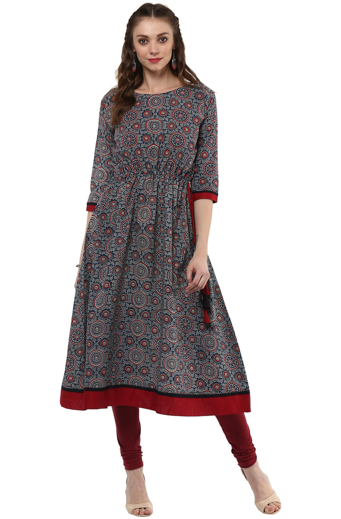 Long Printed Cotton Kurta-www.riafashions.com