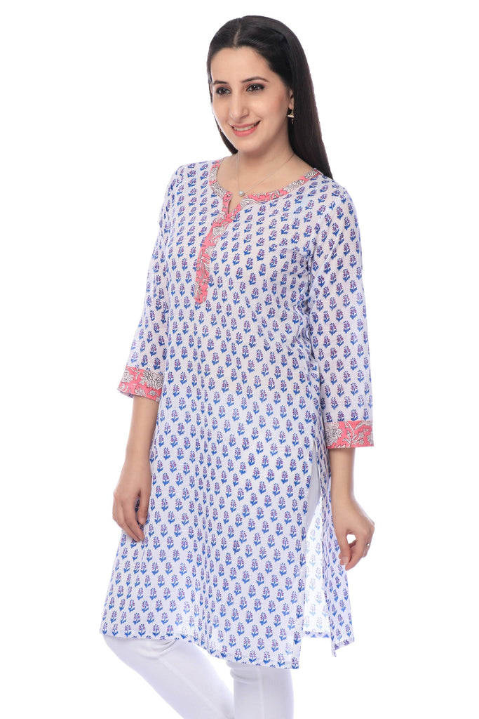 White Block Printed Cotton Kurti-www.riafashions.com