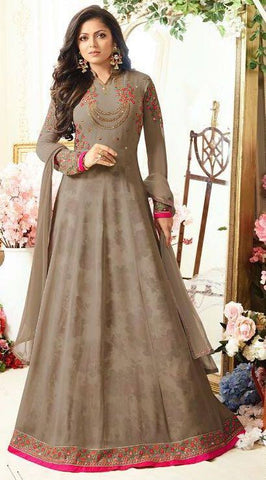 Olive Embroidered Anarkali Suit-www.riafashions.com