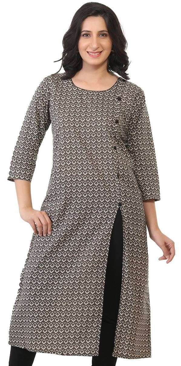 Cotton kurti with slit front-www.riafashions.com