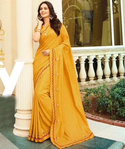 Orange Colored Designer Party Wear Georgette Silk Saree