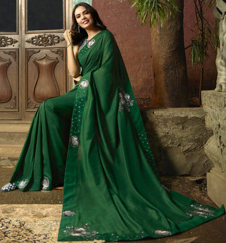 Olive Green Colored Designer Party Wear Georgette Silk Saree