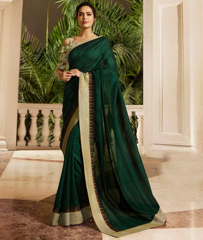 Olive Colored Designer Party Wear Georgette Silk Saree