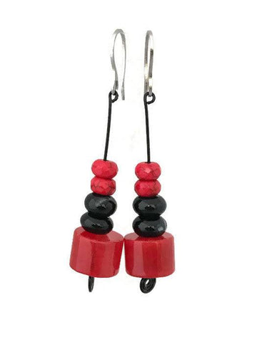 Red and Black Agate Drop Earrings-www.riafashions.com