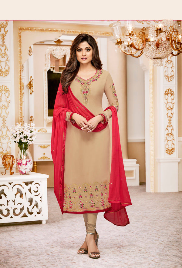 Beige Georgette Embroidered Suit-www.riafashions.com