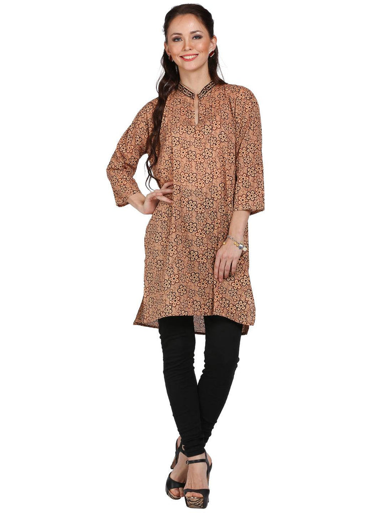 Brown Printed Cotton Kurti / Tunic-www.riafashions.com