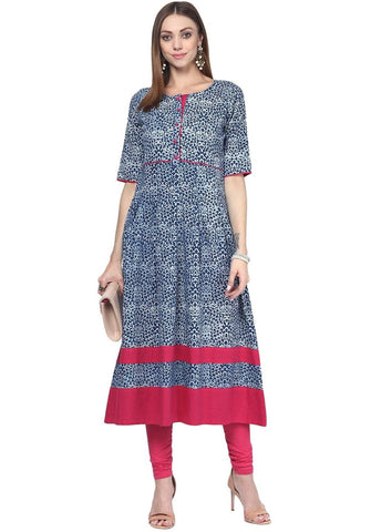 Blue Cotton Kurta-www.riafashions.com