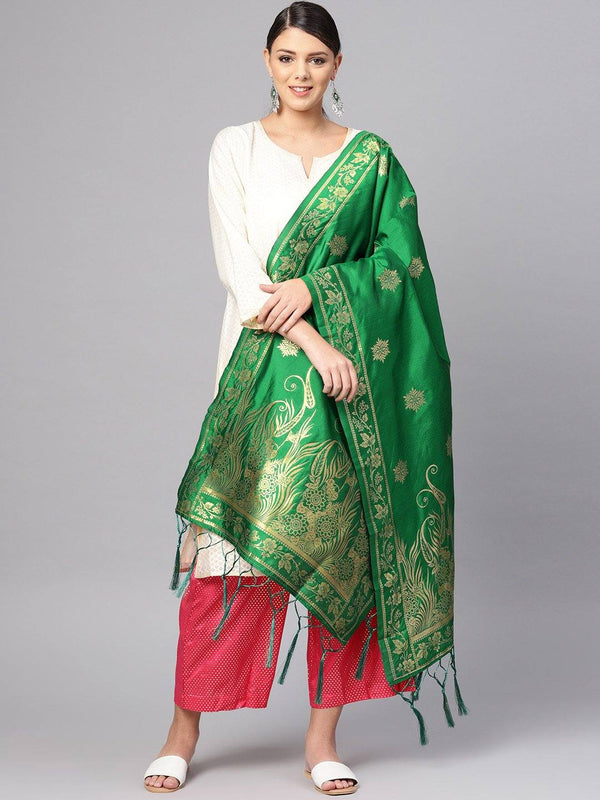 Green Colour Designer Banarasi Silk Dupatta With Zari Work