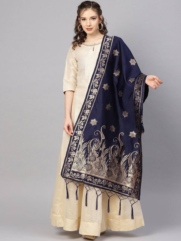 Navi Blue Colour Designer Banarasi Silk Dupatta With Zari Work