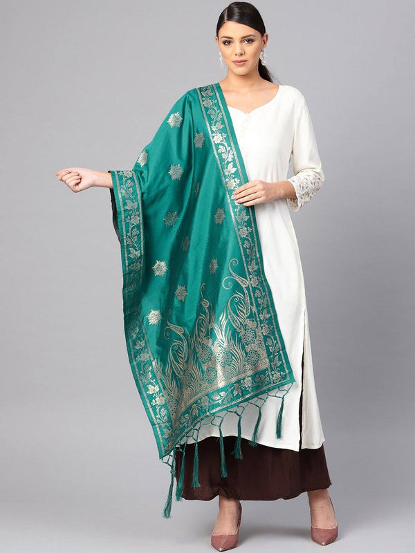 Rama Green Colour Designer Banarasi Silk Dupatta With Zari Work