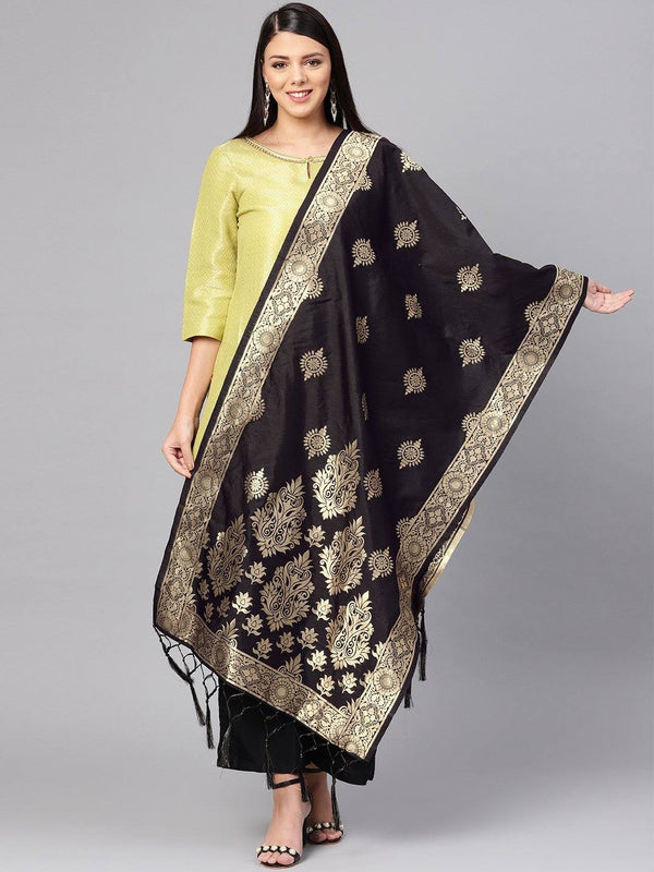 Black Colour Designer Banarasi Silk Dupatta With Zari Work