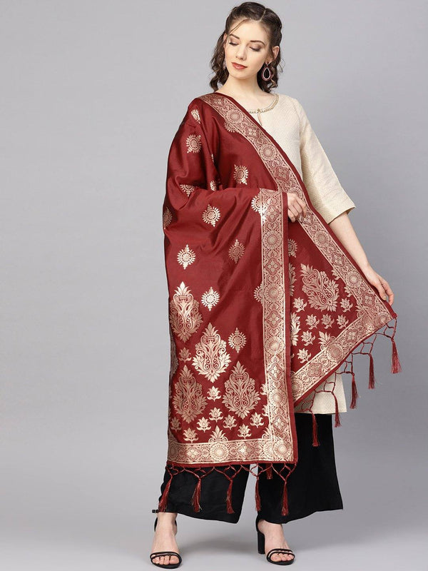 Maroon Colour Designer Banarasi Silk Dupatta With Zari Work