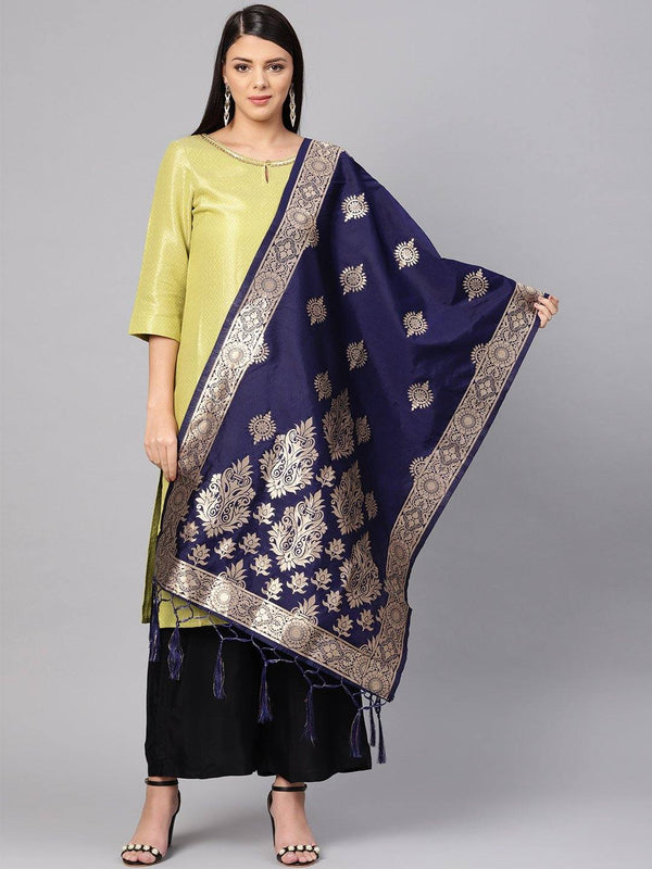 Navy Blue Colour Designer Banarasi Silk Dupatta With Zari Work