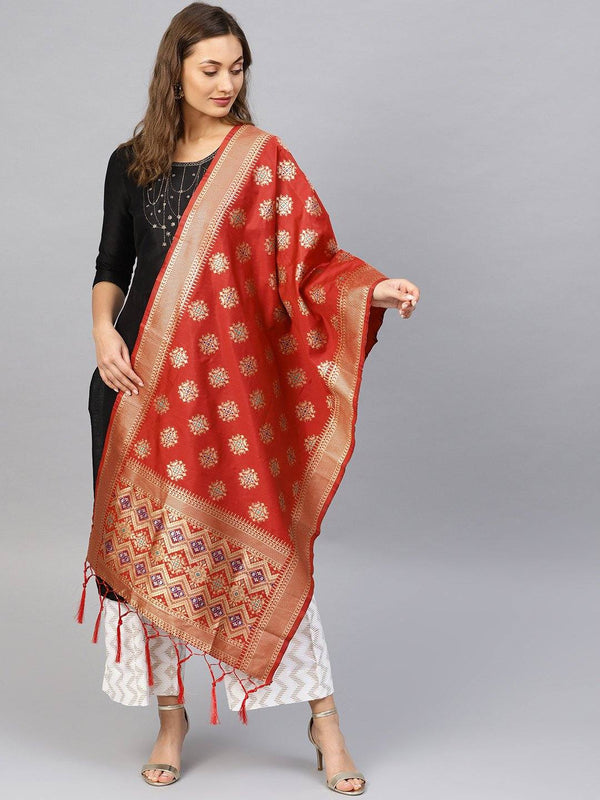 Red Colour Designer Banarasi Silk Dupatta With Zari Work