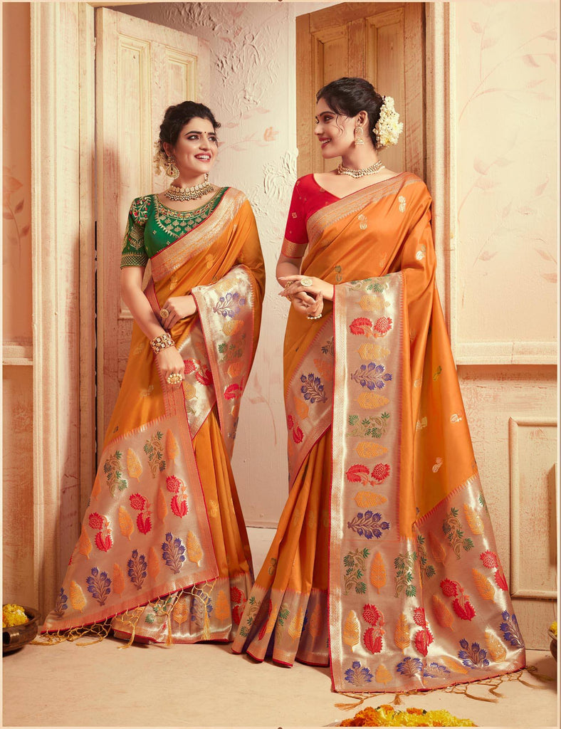 Yellow Colored Designer Party Wear Silk Saree