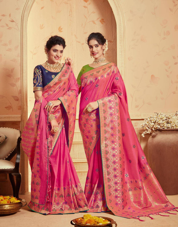 Pink Colored Designer Party Wear Silk Saree