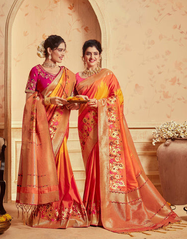 Orange Colored Designer Party Wear Silk Saree