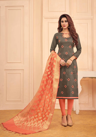 Tomato Colour Designer Banarasi Silk Dupatta With Zari Work