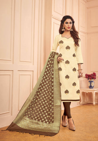 Brown Colour Designer Banarasi Silk Dupatta With Zari Work