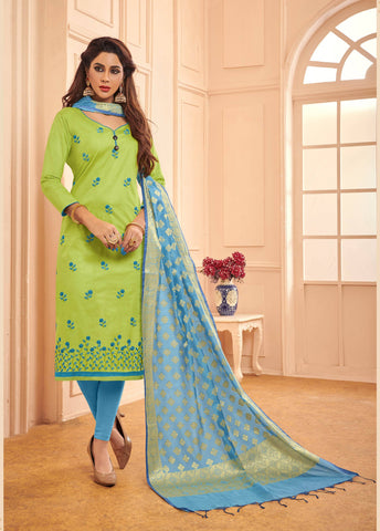 Blue Colour Designer Banarasi Silk Dupatta With Zari Work