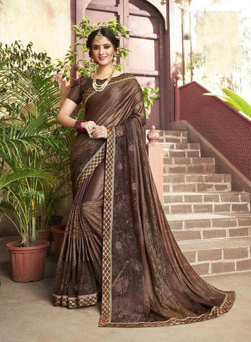 Dark Brown Colored Fancy Party Wear Saree
