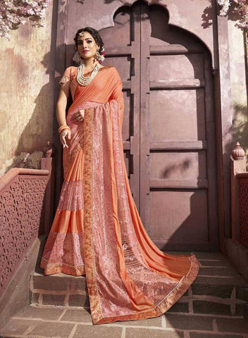Orange Colored Fancy Party Wear Saree