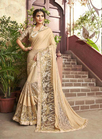 Burlywood Colored Fancy Party Wear Saree