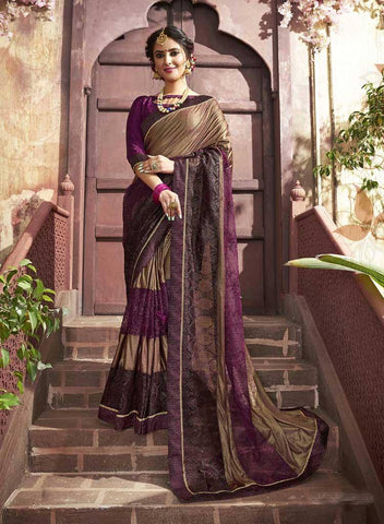 Maroon Colored Fancy Party Wear Saree