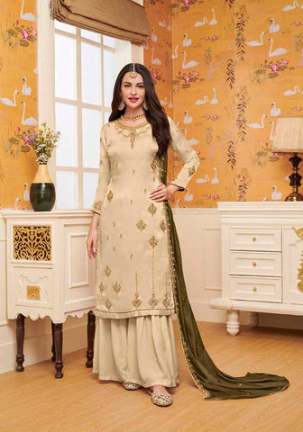 Beige Colored Designer Salwar Suit