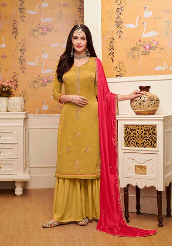 Mustard Colored Designer Salwar Suit