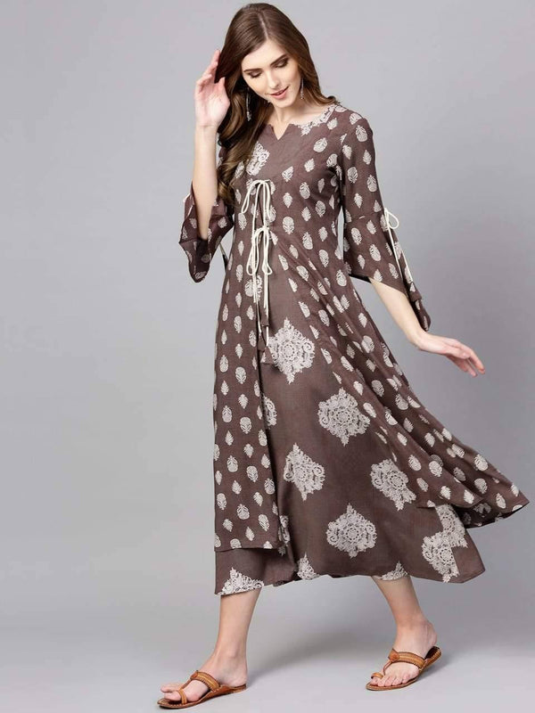 Luminous Brown Colored Crepe Kurti With Dupatta