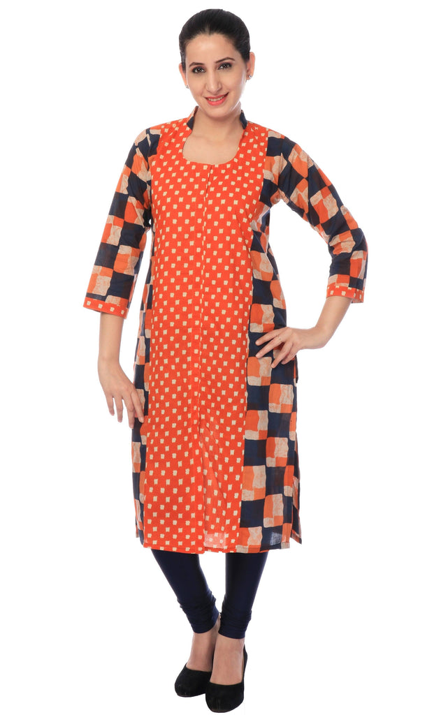 Orange Printed Cotton Kurti.-www.riafashions.com