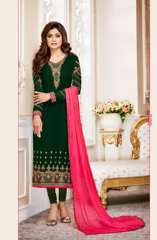 Green Georgette Embroidered Suit-www.riafashions.com