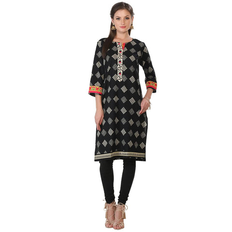 Black Embroidered Long Cotton Kurta Tunic-www.riafashions.com