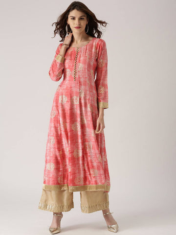 Peach Printed Cotton Kurti-www.riafashions.com