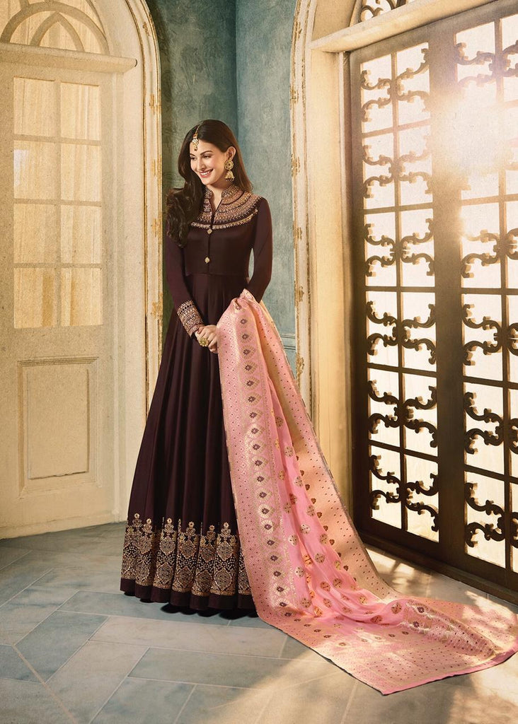Brown Colour Make to Order Salwar Suit