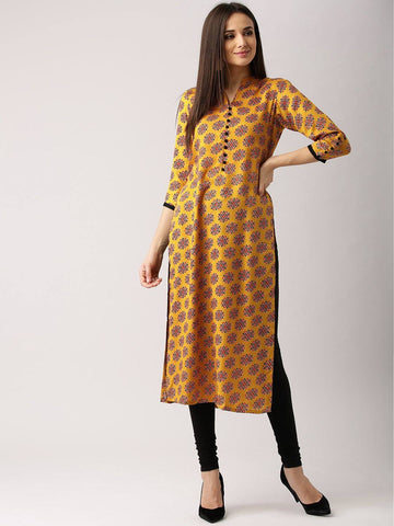 Yellow Printed Kurta-www.riafashions.com