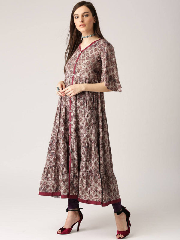 Mauve Coloured Cotton blend Kurti-www.riafashions.com
