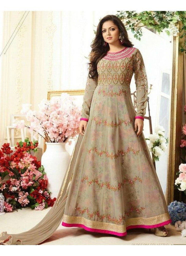 Beige Embroidered Anarkali Suit-www.riafashions.com