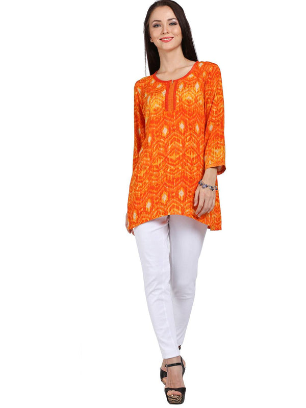 Orange Rayon Tunic / Kurti-www.riafashions.com